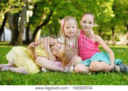 Three cute little sisters having fun together on the grass on a sunny summer day. Funny kids hanging together outdoors. Active family leisure.