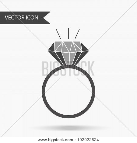 Vector Illustration Of An Icon With A Beautiful Ring. Wedding Ring With Diamond On Isolated Backgrou