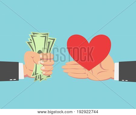 Hand of businessman with money buying Heart isolated on blue background