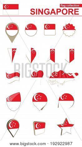 Singapore Flag Collection. Big Set For Design.