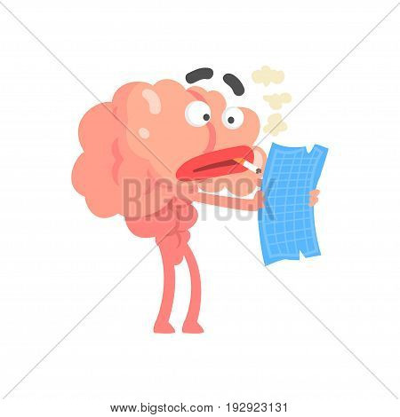 Smoking humanized cartoon brain character examine document, intellect human organ vector Illustration isolated on a white background