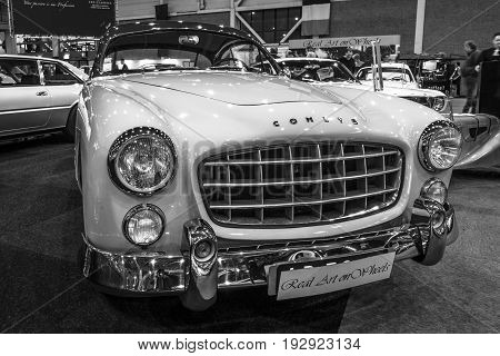 MAASTRICHT NETHERLANDS - JANUARY 14 2016: Sports car Ford Comete 1953. Bodywork was built by FACEL. Black and white. International Exhibition InterClassics & Topmobiel 2016