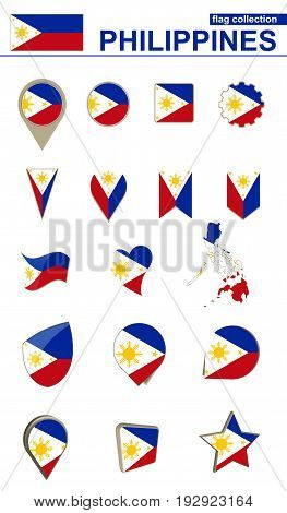 Philippines Flag Collection. Big Set For Design.