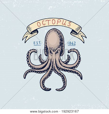 set of engraved vintage, hand drawn, old, labels or badges for atlantic tidal wave, octopus or sea creature. Marine and nautical or sea, ocean emblems