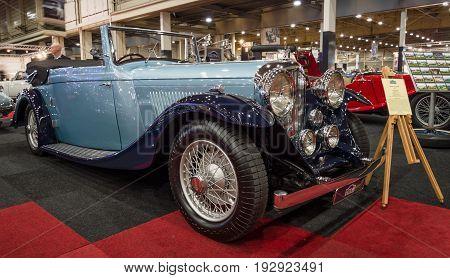 MAASTRICHT NETHERLANDS - JANUARY 14 2016: Retro car Bentley 4 1/4 Litre 1937. International Exhibition InterClassics & Topmobiel 2016