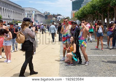 San Francisco CA - June 24 2017: Unidentified participants celebrate at the San Francisco Gay Pride Festival at Civic Center downtown San Francisco. This years theme a celebration of diversity.