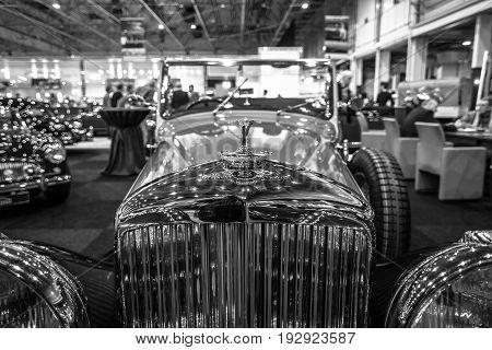 MAASTRICHT NETHERLANDS - JANUARY 14 2016: Detail of retro car Bentley 4 1/4 Litre 1937. Black and white. International Exhibition InterClassics & Topmobiel 2016
