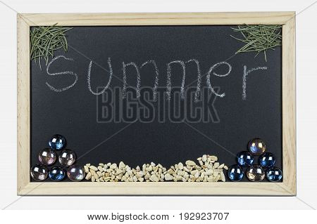 Space chalkboard background texture with wooden frame with the word