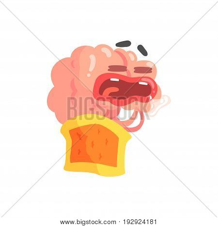 Humanized cartoon brain character sleeping and drooling, intellect human organ vector Illustration isolated on a white background