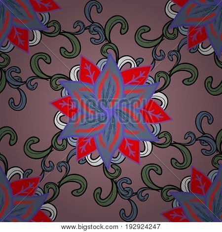 Multicolor ornament of small simple flowers vector abstract seamless pattern for fabric or textile design.