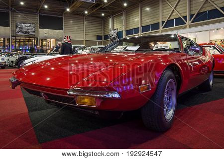 MAASTRICHT NETHERLANDS - JANUARY 14 2016: Sports car De Tomaso Pantera. International Exhibition InterClassics & Topmobiel 2016