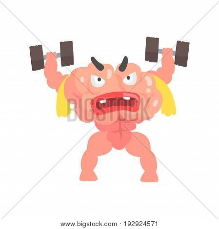 Muscular humanized cartoon brain character training with dumbbells, intellect human organ vector Illustration isolated on a white background