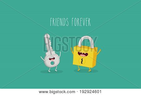Funny key and lock. Friends forever. Vector illustration. Comic character