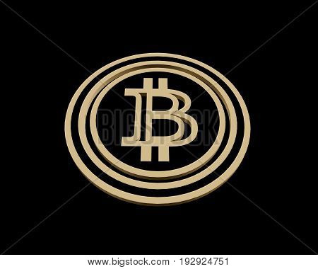 3D rendering golden coin with bitcoin sign. Money and finance symbol. 3D illustration isolated on black background.