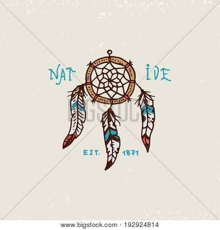 set of engraved vintage, hand drawn, old, labels or badges for indian or native american. Dreamcatcher and cherokee