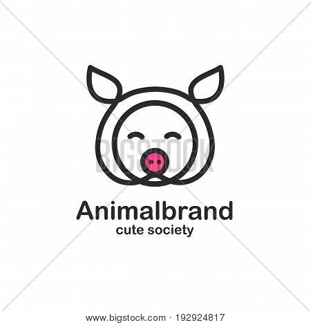 Black color logo design template with animal head. Cute pig snout for sign farm pet shop. Symbol in a linear style with the silhouette of the piggy. Vector