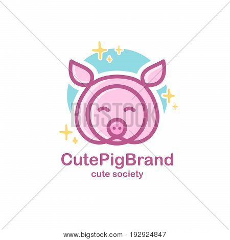 Pastel color logo design template with animal head. Cute pig snout for sign farm pet shop. Symbol in a linear style with the silhouette of the piggy. Vector
