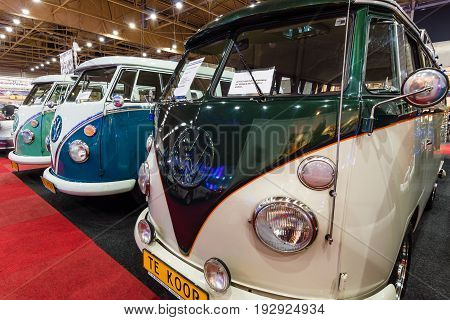 MAASTRICHT NETHERLANDS - JANUARY 14 2016: Minibuses Volkswagen Type 2 standing in a row. International Exhibition InterClassics & Topmobiel 2016