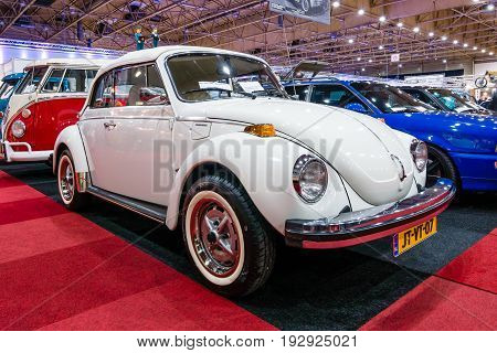 MAASTRICHT NETHERLANDS - JANUARY 14 2016: Subcompact Volkswagen Beetle. International Exhibition InterClassics & Topmobiel 2016