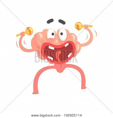 Humanized cartoon brain character playing on maracas, intellect human organ vector Illustration isolated on a white background
