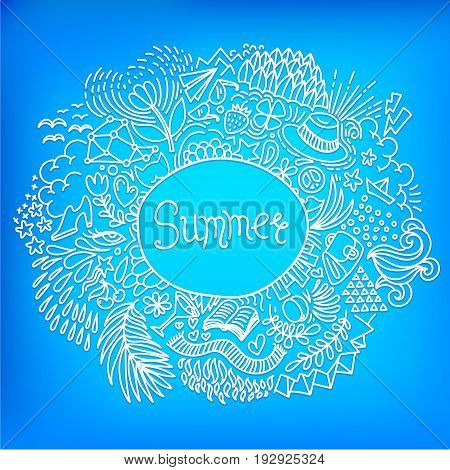 Summer. Round shape doodle frame made of abstract freehand ornament on a bright blue background. Vector illustration