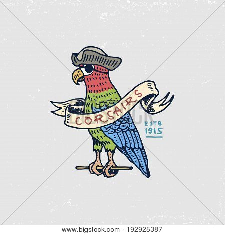 set of engraved, hand drawn, old, labels or badges for corsairs, Caribbean parrot. Pirates marine and nautical or sea, ocean emblem poster