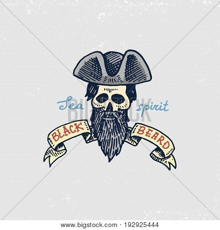 set of engraved, hand drawn, old, labels or badges for corsairs, skull, black beard. Pirates marine and nautical or sea, ocean emblem