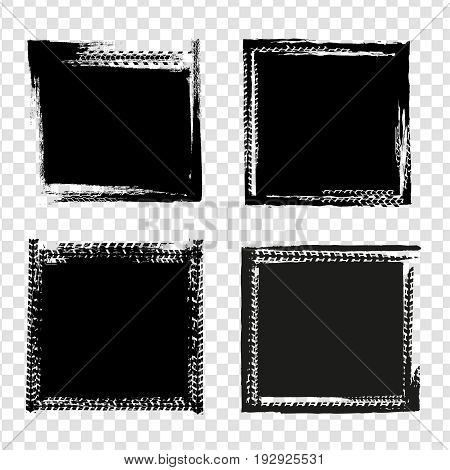 Grunge tire track frames in rectangular shape. Beautiful vector illustration in dark grey colours isolated on a transparent background. Automotive collection.