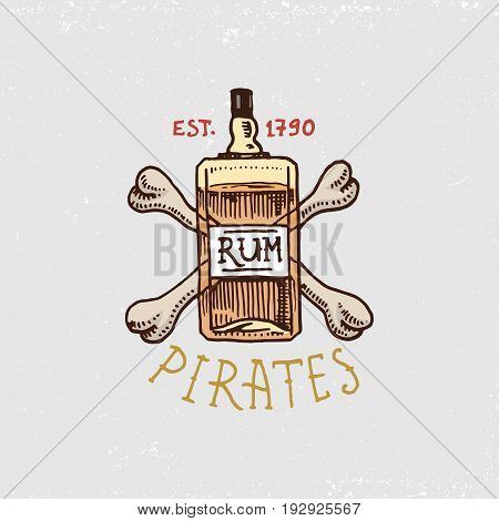set of engraved, hand drawn, old, labels or badges for corsairs, bottle of rum and bone. Pirates marine and nautical or Caribbean sea, ocean emblems