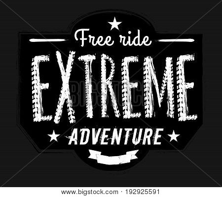 Off-road logo. Extreme competition emblem. Off-roading suv adventure and car club elements. Vector illustration in black and white colours with textured lettering isolated on a dark grey background.
