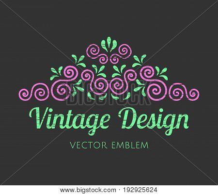 Elegant retro flourish decor. Vintage logo design with worn texture. Baroque style ornament for boutique restaurant cafe flower shop emblem. EPS 10 vector illustration.