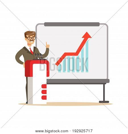 Smiling businessman giving a presentation and explaining growth graph on a whiteboard, vector Illustration isolated on a white background