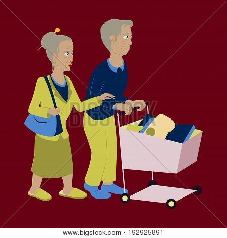 Pensioners with a trolley products fashion outdoor