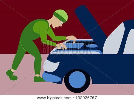 Mechanic repairs car motor business professional person