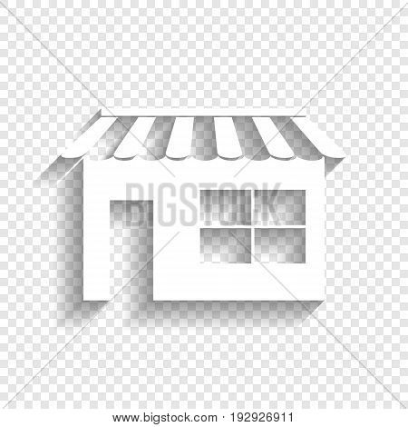 Store sign illustration. Vector. White icon with soft shadow on transparent background.