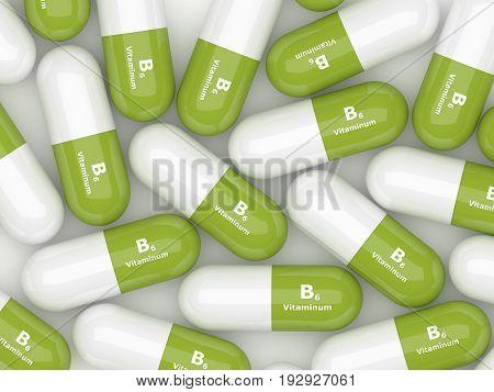 3D Rendering Of  Vitamin B6 Pills