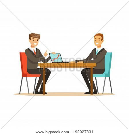 Two businessmen at a business meeting discussing new project with laptop in office vector Illustration isolated on a white background