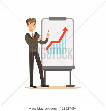 Smiling businessman in a suit pointing at a whiteboard with growth graph at a presentation, vector Illustration isolated on a white background