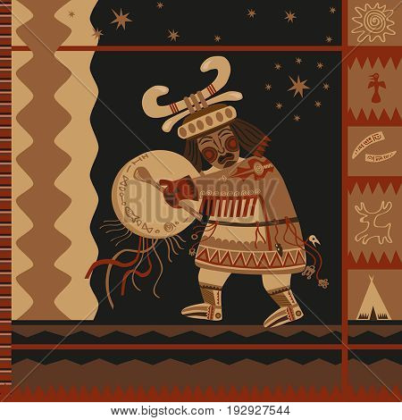 ornament ethnic textile motifs of the Northern shaman dance shaman