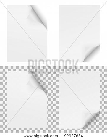 two empty papers with turned over corner on white and checkered background showing transparency