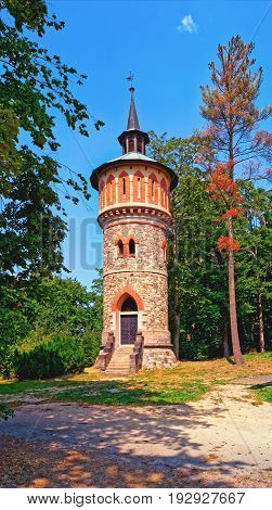 Castle Sychrov Water Tower In English Park. Czech Republic.