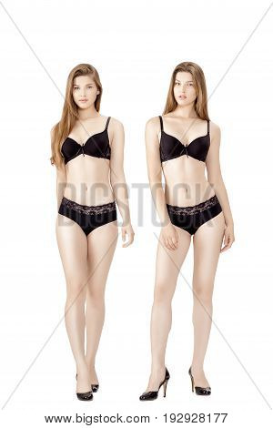 collage of young slender woman in black lingerie isolated on the white background. Model snapshots