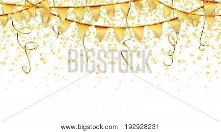 Seamless Garlands, Confetti And Streamers Background