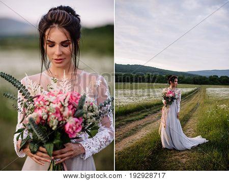 Beautiful Woman Enjoying Daisy Field, Nice Female Lying Down In Meadow Of Flowers, Pretty Girl Relax