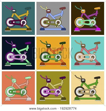 Set of Icons in flat design Bicycle exercise