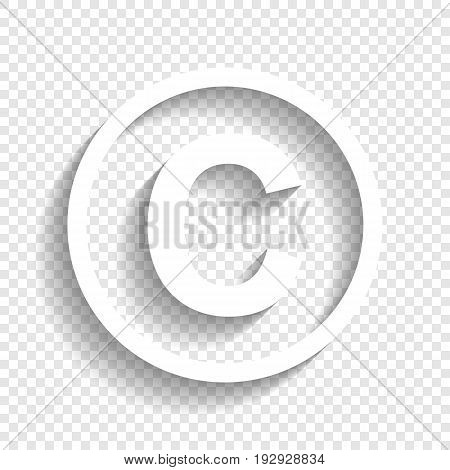 Copyright sign illustration. Vector. White icon with soft shadow on transparent background.
