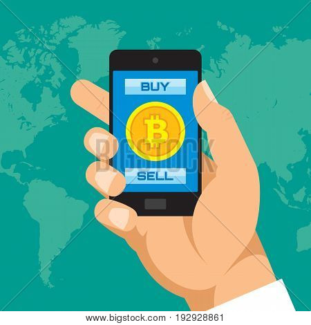 Digital currency bitcoin in smartphone application - vector concept illustration in flat style. Human hand banner. Money creative layout. Modern finance economic. Graphic design.