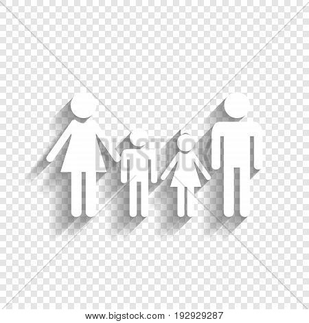 Family sign. Vector. White icon with soft shadow on transparent background.