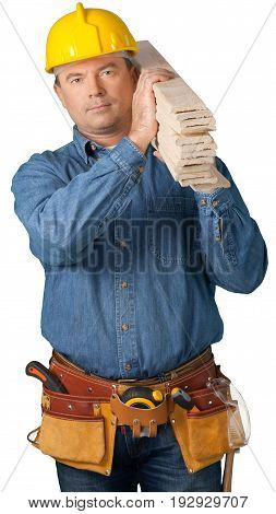 Male worker belt tool belt white background isolated