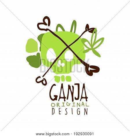 Ganja label original design, logo graphic template hand drawn vector Illustration in green colors